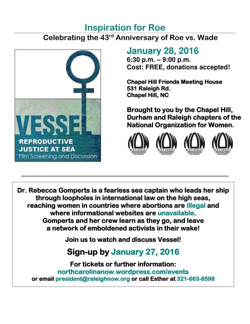 2016 Roe event - screening Vessel