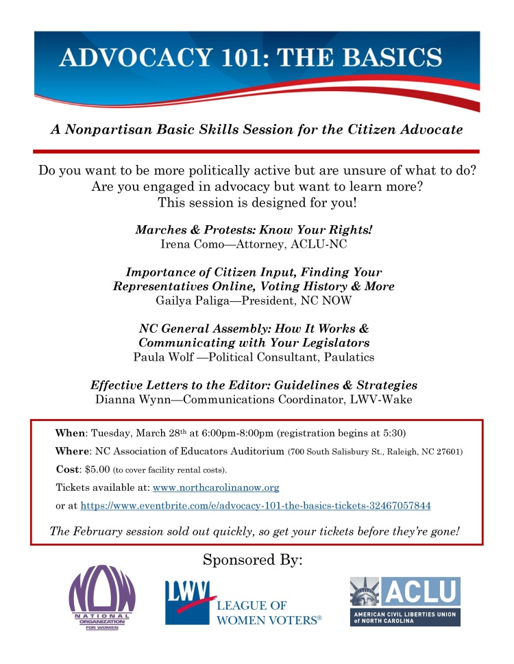 Advocacy 101 flyer March 2017 v2
