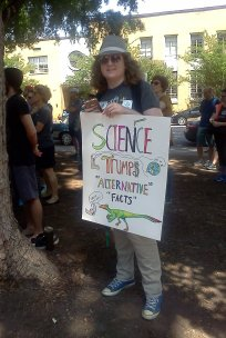Science Trumps Alternative Facts Photo at 2017 Raleigh March For Science. Photo Credit: Gailya Paliga