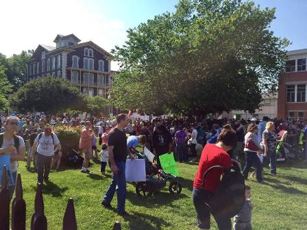 People at the 2017 Raleigh March For Science at Moore Square. Photo Credit: Lori Bunton