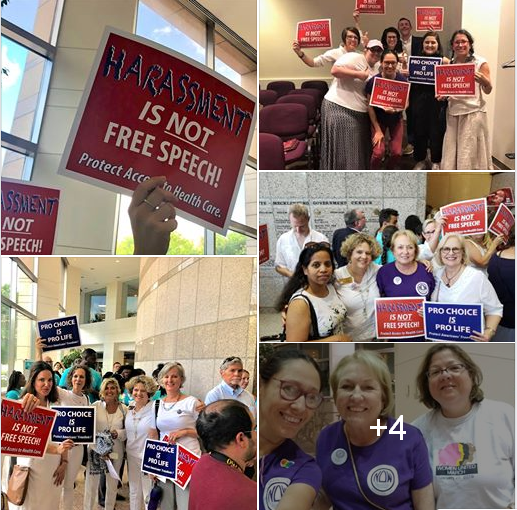 Collage of photos of women at Charlotte City Council Meeting on 6/25/19
