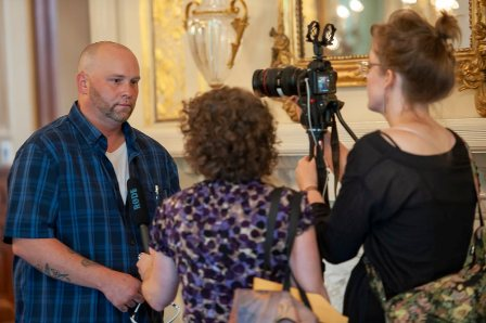 Filmmaker Rebecca Cerese at work